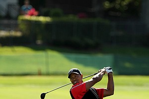 Tiger Woods in the fairway at No. 4 on Monday at Arnold Palmer Invitational at Bay Hill.