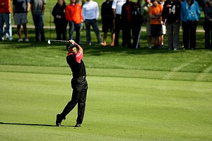 Tiger Woods in the fairway at No. 8 on Monday at Arnold Palmer Invitational at Bay Hill.