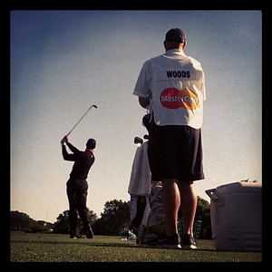 Tiger Woods warms up on the practice range on Monday at Arnold Palmer Invitational at Bay Hill.