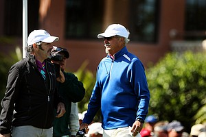 David Feherty and Gary McCord at the first tee during the 2013 Tavistock Cup at Isleworth Country Club.