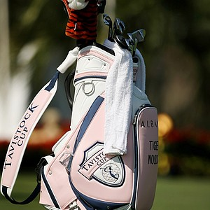 Tiger Woods' golf bag sits on the first tee during the 2013 Tavistock Cup at Isleworth Country Club.