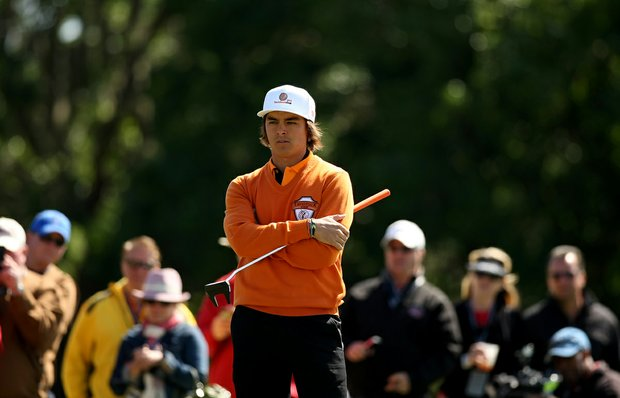 Rickie Fowler, representing Oak Tree National waits on No. 2 green during the 2013 Tavistock Cup at Isleworth Country Club.