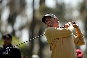 Fred Couples hits his tee shot at No. 3 during the 2013 Tavistock Cup at Isleworth Country Club.