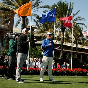 David Feherty and Gary McCord are the first tee announcers during the 2013 Tavistock Cup at Isleworth Country Club.