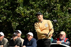 Bill Haas tees off at No. 9 during the 2013 Tavistock Cup at Isleworth Country Club.