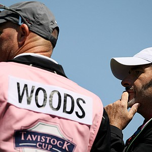 David Feherty and Joe LaCava during the 2013 Tavistock Cup at Isleworth Country Club.