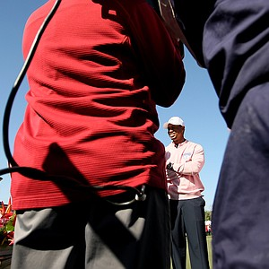 Tiger Woods is interviewed by Golf Channel at the conlusion of the 2013 Tavistock Cup at Isleworth Country Club.