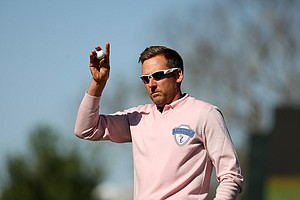 Ian Poulter made the winning putt in a playoff during the 2013 Tavistock Cup at Isleworth Country Club.
