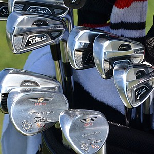Brendon de Jonge uses Titleist 712 AP2 irons and Vokey Design Spin Milled wedges that are stamped with his initials and trimmed in maroon and orange – the colors of his alma mater, Virginia Tech.