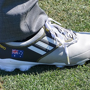 Robert Allenby's Adidas adizero golf shoes are personalized with the Australian flag.