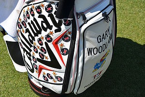 Each of the bomb stickers affixed to Gary Woodland's Callaway bag represents a drive he has hit this season that went more than 325 yards.
