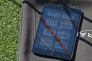 Hunter Mahan, the defending champion at the Shell Houston Open, tested new Ping G25 3-woods on Wednesday while the company's tour reps used a launch monitor to measure each club's performance. This shot launched at 11.1 degrees, carried 234.5 yards with a spin rate of 3,232 and had a total distance of 245.5 yards.