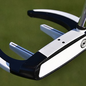 Here's a close-up look at Keegan Bradley's newly-painted Odyssey Versa Sabertooth putter.