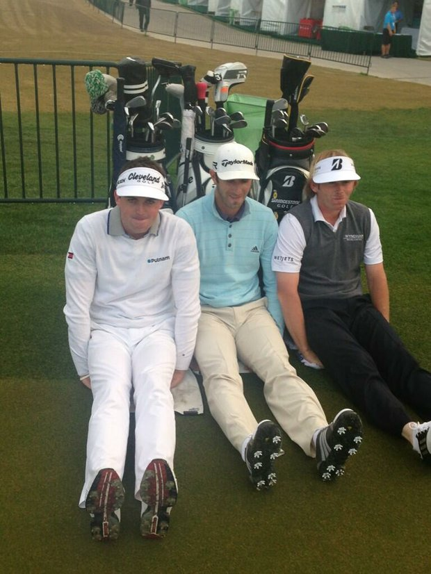 Keegan Bradley, Dustin Johnson and Brandt Snedeker do their best #Dufnering before their rounds at the Shell Houston Open.