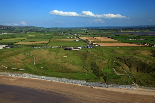An aerial view of the 17th and 18th holes on the Old Course with the Clubhouse behind at The Ballybunion Golf Club.