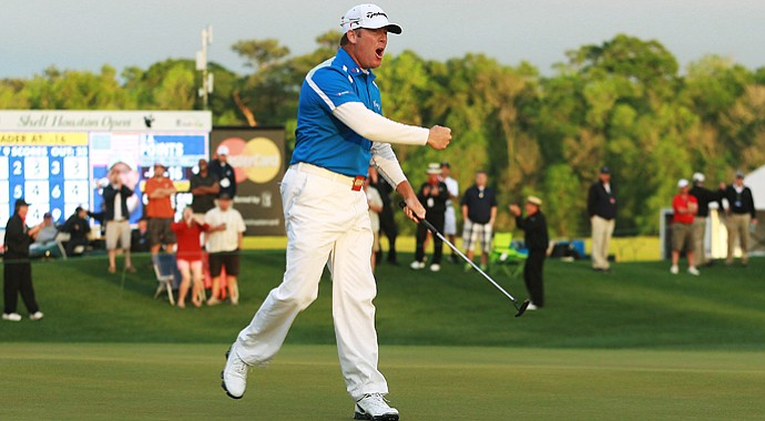 D.A. Points celebrates his winning putt at the 2013 Shell Houston Open.