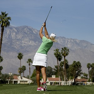 Anna Nordqvist, of Sweden, tees off on the fifth hole during the first round of the LPGA Kraft Nabisco Championship.