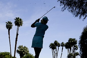 Anna Nordqvist, of Sweden, hits from the rough on the second hole during the second round of the LPGA Kraft Nabisco Championship.
