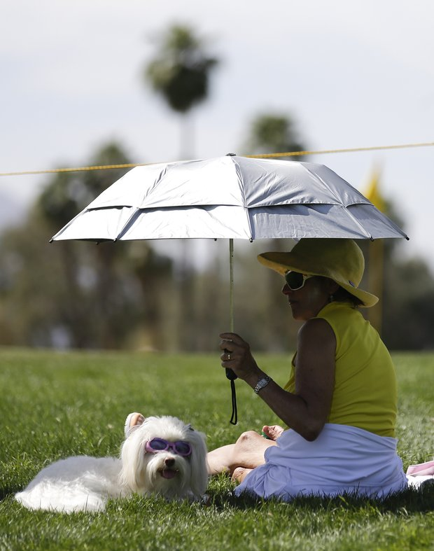 Martha Jaffa of Cleveland, Ohio, and her dog Fiore watch golfers on the fourth hole during the second round of the LPGA Kraft Nabisco Championship.