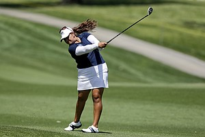 Lizette Salas hits from the fairway on the second hole during the second round of the LPGA Kraft Nabisco Championship.