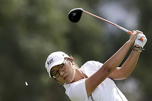Lydia Ko, of New Zealand, hits on the sixth tee during the second round of the LPGA Kraft Nabisco Championship.