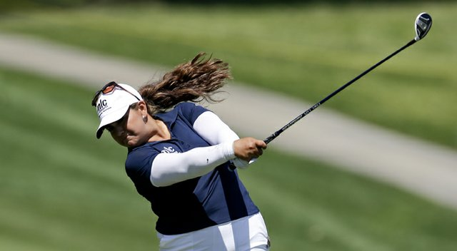 Lizette Salas during the second round of the Kraft Nabisco Championship.