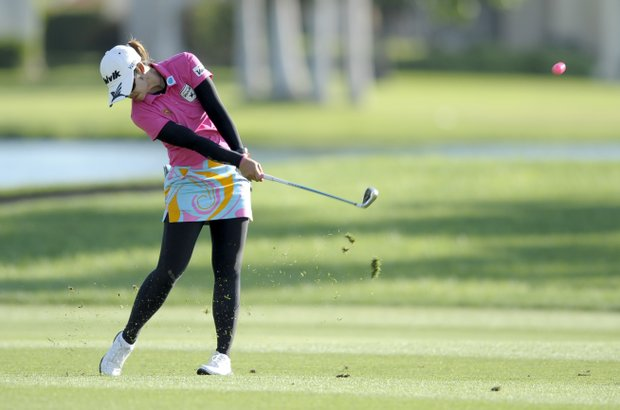 Pornanong Phatlum hits on the 18th hole during the third round of the LPGA Kraft Nabisco Championship.