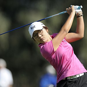 Lydia Ko, of New Zealand, hits from the tee on the second hole during the third round of the LPGA Kraft Nabisco Championship.