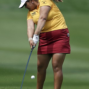 Lizette Salas hits from the rough on the second hole during the final round of the LPGA Kraft Nabisco Championship.