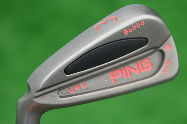 All of Bubba Watson's irons, like his woods, are trimmed with pink paint fill and personalized.