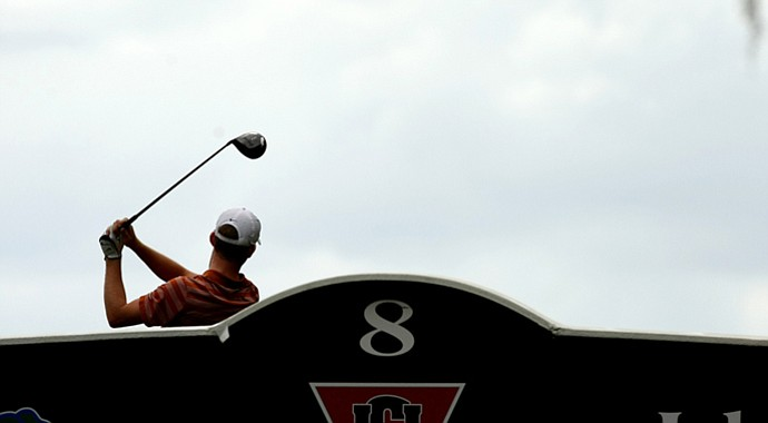 Texas freshman Brandon Stone tees off on No. 8 at the Isleworth Intercollegiate.