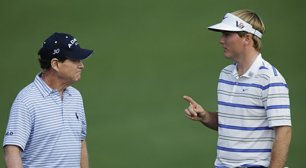 Tom Watson (left) and Russell Henley during practice for the 2013 Masters on Monday, April 8, 2013, in Augusta, Ga.
