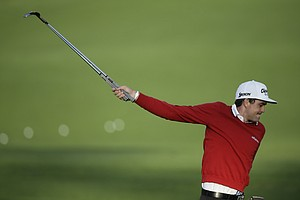 Keegan Bradley stretches before his practice round Tuesday for the 2013 Masters at Augusta National.