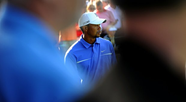 Tiger Woods tees off at 10:45 a.m. EDT with Luke Donald and Scott Piercy.