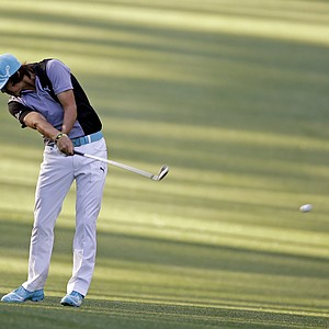 Rickie Fowler hits off the 13th fairway during a practice round for the Masters on Wednesday.