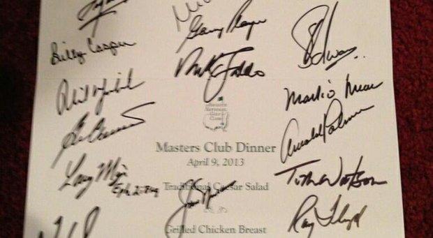 The 2013 Champions Dinner menu set by Bubba Watson.