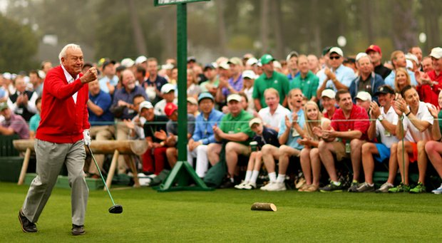 Honorary starter Arnold Palmer reacts after he tees off to start the first round of the 2013 Masters.