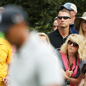 Lindsey Vonn watches as boyfriend Tiger Woods plays the first hole during the first round of the 2013 Masters.