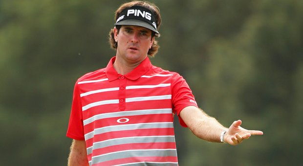 Bubba Watson reacts on the 18th hole during the first round of the 2013 Masters.