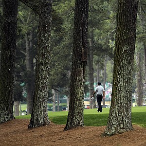 Tiger Woods walks the No. 2 fairway during Thursday's first round of the 2013 Masters at Augusta National.