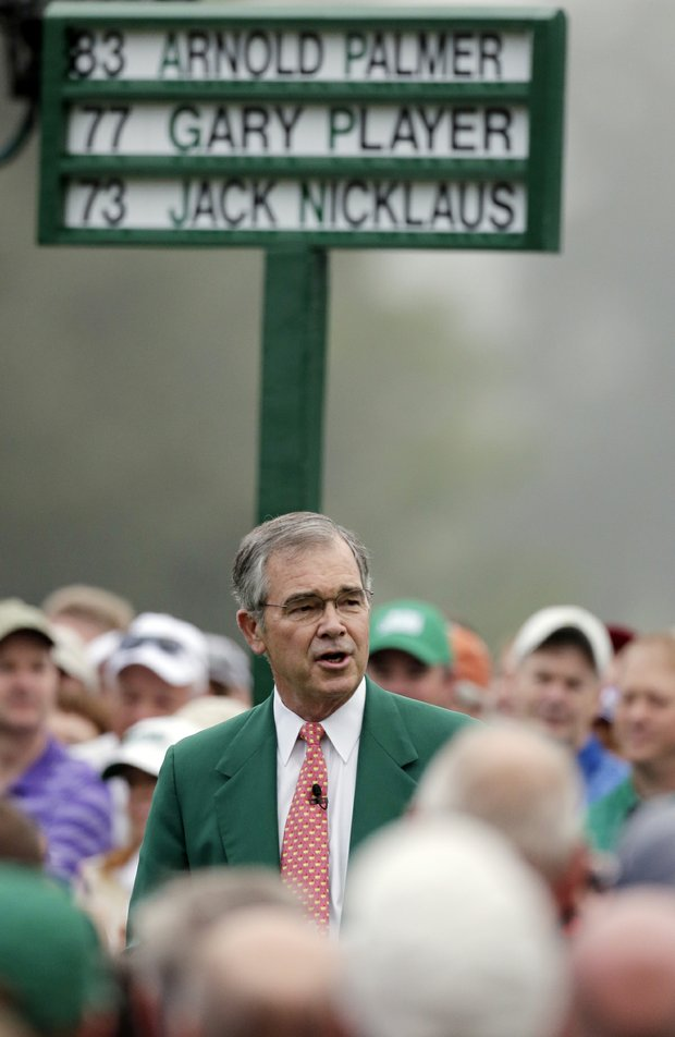 Billy Payne, Chairman of the Augusta National Golf Club, introduces the honorary starters before the first round of the Masters golf tournament Thursday, April 11, 2013, in Augusta, Ga.