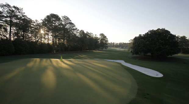 The first hole at Augusta National, Tea Olive, where players begin the Masters.