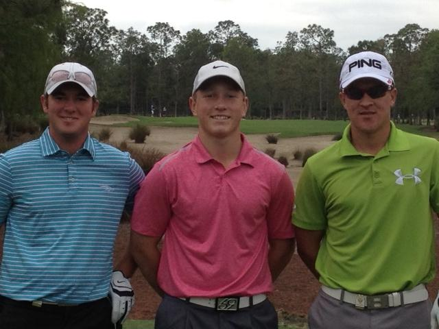 From left, George Cunningham, Brad Dalke and Cameron Champ during the Terra Cotta Amateur.