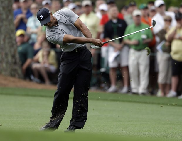 Tiger Woods on the No. 1 fairway during the first round of the 2013 Masters.
