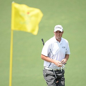Marc Leishman, of Australia, stands on the second hole during the second round of the Masters.