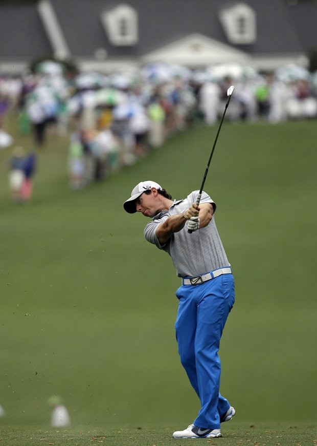 Rory McIlroy, of Northern Ireland, hits off the first fairway during the second round of the Masters golf tournament.