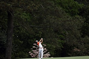 Thorbjorn Olesen, of Denmark, hits on the second fairway during the second round of the Masters.