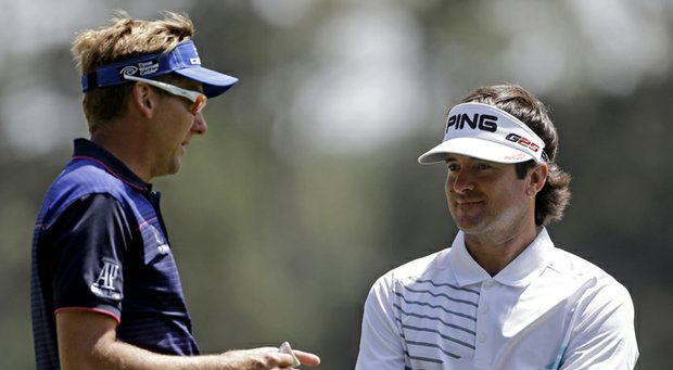 Bubba Watson (right) with Ian Poulter during the second round of the 2013 Masters.