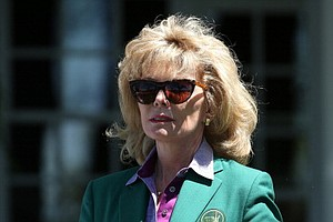 Augusta National Golf Club member Darla Moore, attends the third round of the Masters at Augusta National Golf Club.