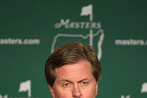 Chairman of The Masters Competition Committee, Fred S. Ridley, addresses the media during the third round of the Masters.